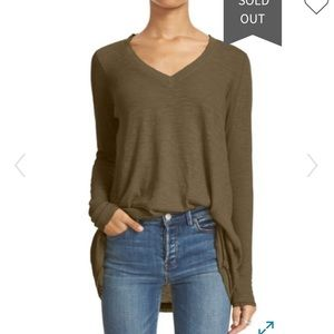 Free People Anna burnout high low tee Olive green